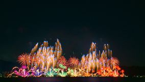 Fyrverkerier i Lake Biwa, Otsu, Shiga, Japan Royaltyfri Bild