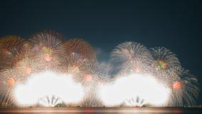 Fyrverkerier i Lake Biwa, Otsu, Shiga, Japan Royaltyfria Bilder