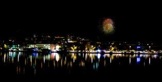 Fyrverkerier i Makarska Royaltyfri Foto