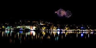 Fyrverkerier i Makarska Royaltyfria Bilder