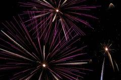 Fyrverkerier i nattskyen Fotografering för Bildbyråer