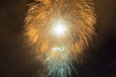 Fyrverkerier i nattskyen Arkivbild
