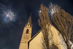 Fyrverkerier i Pfunds, Österrike Royaltyfria Foton