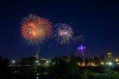 Fyrverkerier i Spokane Washington Arkivfoto