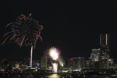 Fyrverkerier i Yokohama portfestival på Japan Royaltyfri Fotografi