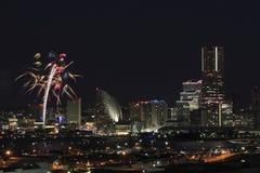 Fyrverkerier i Yokohama portfestival på Japan Royaltyfria Foton