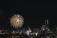 Fyrverkerier i Yokohama portfestival på Japan Royaltyfri Bild