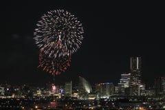 Fyrverkerier i Yokohama portfestival på Japan Royaltyfri Foto