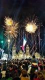 Fyrverkerier i zocaloen, Mexiko - stad royaltyfria bilder