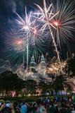 Fyrverkerier KLCC Malaysia Kuala Lumpur NewYear Countcown Royaltyfri Fotografi