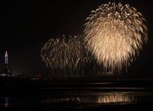 Fyrverkerier på Blackpool Royaltyfri Bild