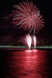 Fyrverkerier på dagberömmar Juli 14 i Nice Royaltyfria Bilder