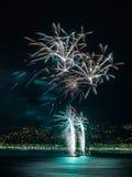 Fyrverkerier på dagberömmar Juli 14 i Nice Royaltyfri Bild