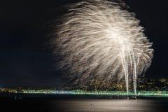 Fyrverkerier på dagberömmar Juli 14 i Nice Arkivfoto