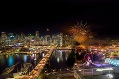 Fyrverkerier på Darling Harbour Arkivfoto