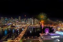 Fyrverkerier på Darling Harbour Royaltyfri Fotografi