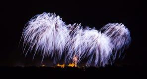 Fyrverkerier på den Carcassonne festivalen av 14 juli 2012 Royaltyfria Bilder