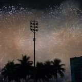 Fyrverkerier på den Copacabana stranden Fotografering för Bildbyråer