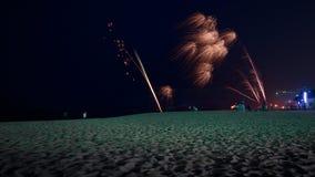 Fyrverkerier på den Sokcho stranden Royaltyfri Bild