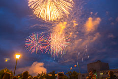 Fyrverkerier på festmåltiddagen av staden i Kohma Fotografering för Bildbyråer