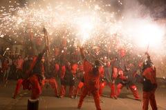 Fyrverkerier på fiestaen de sant antonio Arkivbilder