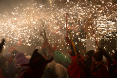 Fyrverkerier på fiestaen de sant antonio Royaltyfri Fotografi