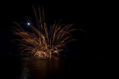 Fyrverkerier på havet Royaltyfri Fotografi