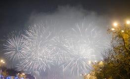 Fyrverkerier på helgdagsafton för nya år Royaltyfri Bild