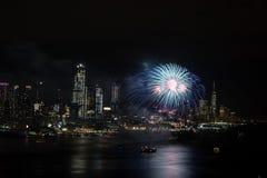 Fyrverkerier på Hudson River, New York City Royaltyfria Bilder