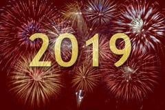 Fyrverkerier på Silvester och dagen 2019 för ` s för nytt år arkivfoto