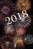 Fyrverkerier på silvester och nya år helgdagsafton 2018 royaltyfri bild