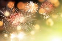 Fyrverkerier på utrymme för nytt år och kopierings- abstrakt feriebackgrou Fotografering för Bildbyråer