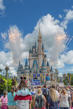 Fyrverkerier på det magiska kungariket Royaltyfri Bild