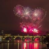 Fyrverkerier Prague för nytt år Royaltyfri Fotografi