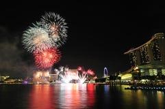Fyrverkerier Singapore för nationell dag 2012 Arkivbilder