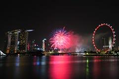 Fyrverkerier Singapore för nationell dag 2012 Arkivfoton