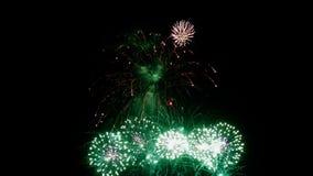 Fyrverkerier tänder upp till himmel på natt stock video
