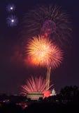 Fyrverkerier över Washington DC på Juli 4th Arkivfoto