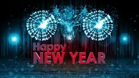 Fyrverkeriexplosion till BLÅTT för kam för etapp för lyckligt nytt år fortfarande royaltyfri illustrationer