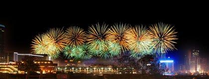 fyrverkerihamn Hong Kong victoria Royaltyfria Bilder