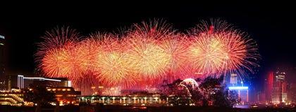 fyrverkerihamn Hong Kong victoria Royaltyfri Fotografi