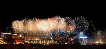 fyrverkerihamn Hong Kong victoria Arkivbild