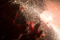 Fyrverkerikapacitet på fiestaen de sant antonio Royaltyfria Bilder