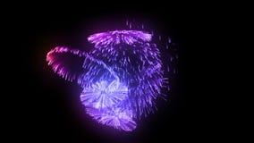 Fyrverkerisalvor som i rad isoleras på svart bakgrund 3d animering 3d att framföra tätt upp sikt Mångfärgade 14 royaltyfri illustrationer