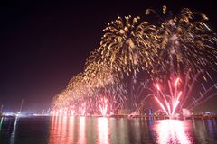 Fyrverkerishow Abu Dhabi Fotografering för Bildbyråer