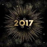 Fyrverkerit 2017 för det lyckliga nya året brast i guld Arkivbild