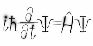 Fysica, de formule van Schrodinger ` s, freezelight, bokeh, Schrödinger-vergelijking, Quantumwerktuigkundigen Stock Afbeeldingen