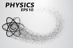 Fysica van deeltjes Het silhouet van een atoom bestaat uit kleine cirkels Vector illustratie Royalty-vrije Stock Afbeelding