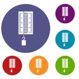 Fysicadynamometer voor geplaatste de pictogrammen van het laboratoriumwerk Royalty-vrije Stock Afbeelding