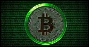 Fysieke Bitcoin met groene binaire codeachtergrond Stock Afbeeldingen